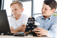 Lovely boys watching video on laptop together Stock Image