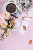 Lovely breakfast in pink colors Stock Photo