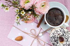 Lovely breakfast in pink colors Royalty Free Stock Image