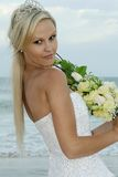 Lovely Bride at the Beach Stock Photography