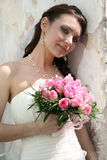 Lovely bride with bouquet royalty free stock images