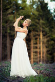 Lovely bride in a forest Stock Photography