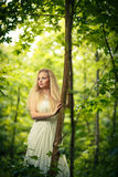 Lovely bride in a forest Stock Photos