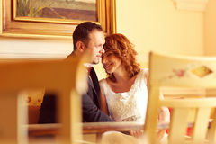 Lovely bride and groom in a beautiful room Stock Images