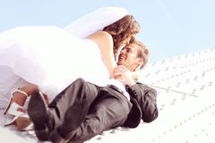 Lovely bride and groom Stock Photography