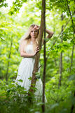 Lovely bride outdoors Royalty Free Stock Image