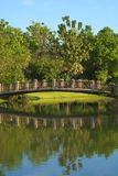 Lovely bridge crossing a lake in a beautifully landscaped Thai park. Lovely bridge crossing a lake in a beautifully landscaped park in Bangkok, Thailand Stock Photo
