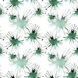 Lovely bright beautiful artistic abstract green emerald cadmium blots watercolor. Hand sketch Stock Photography