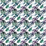 Lovely bright beautiful green purple herbal tropical wonderful hawaii floral summer pattern of a tropic monstera palm leaves. Watercolor hand illustration stock illustration