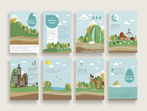 Lovely brochure template. Design set with nature scenery background in flat design Stock Photos