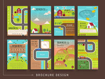 Lovely brochure template. Design set with outdoor scenery in flat design Royalty Free Stock Photo
