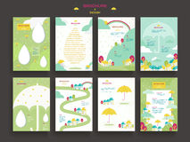 Lovely brochure template. Design set with umbrella elements Royalty Free Stock Image