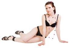 Lovely brunette in black lingerie Royalty Free Stock Image