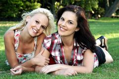 Lovely Brunette and Blonde Friends Stock Photos