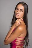 Lovely brunette in a crimson dress Stock Images