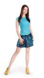 Lovely brunette in denim clothes Stock Photo