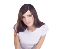 Lovely brunette over white Stock Images