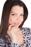 Lovely brunette over white Royalty Free Stock Images