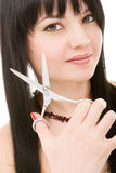 Lovely brunette with scissors Stock Image