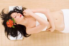 Free Lovely Brunette With Flowers Stock Photo - 9620900