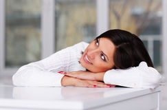 Lovely brunette woman looking up Stock Images