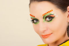 Lovely brunette woman portrait with creative make-up Royalty Free Stock Photo