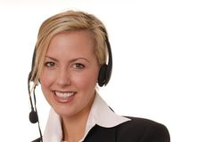 Lovely Business Lady 115. Beautiful and sexy blond business woman with headset Stock Photos