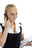 Lovely business woman talking by mobile phone. Royalty Free Stock Images