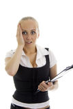 Lovely business women in shock. Royalty Free Stock Photography