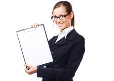Lovely businesswoman with clipboard Stock Photo