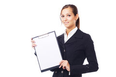 Lovely businesswoman with clipboard Royalty Free Stock Photography