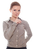 Lovely businesswoman showing quietly sign Stock Photos