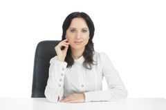 Lovely businesswoman wearing white Royalty Free Stock Photos