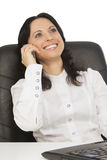 Lovely businesswoman wearing white with laptop Stock Photo