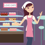 Lovely cake house. For tea and cake vector illustration