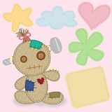 Lovely calico fabric doll. With knot on head Royalty Free Stock Photo