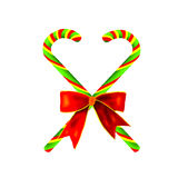 Lovely Candy Canes with Red Bow Stock Photos