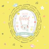 Lovely card with greeting wish and cute bunny in a Stock Images