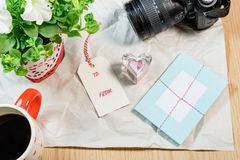 Lovely cards,tags,Petunia,heart shape on the wrinkle white paper Royalty Free Stock Photography