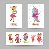 3 lovely cards for Valentine`s Day. Baby announcement, Mother`s Day and wedding invitation in vector. Romantic holiday collection of postcards with cute Royalty Free Stock Images