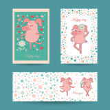 3 lovely cards for Valentine`s day and wedding invitation. In vector. Sweet holiday backgrounds with cute pigs, hearts, flowers and other symbols. Romantic Stock Photo
