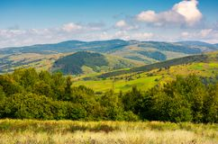 Lovely Carpathian countryside in autumn. Beautiful scenery of mountainous Volovets district, Ukraine Stock Images