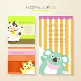 Lovely cartoon animal characters cards Stock Photos