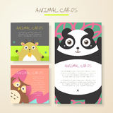 Lovely cartoon animal characters cards Royalty Free Stock Photo