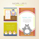 Lovely cartoon animal characters cards Royalty Free Stock Photos