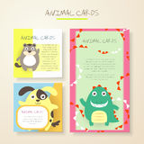 Lovely cartoon animal characters cards Stock Photo