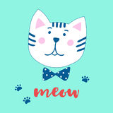 Lovely cartoon cat and inscription Meow. Vector illustration in a hand-drawn style. Stock Image