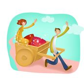 Lovely Cartoon Charactors for Christmas and Valentine`s Day stock illustration
