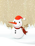 Lovely cartoon Christmas snowman Royalty Free Stock Image