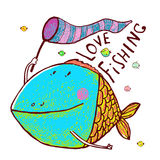 Lovely Cartoon Funny Fish Greeting Card Design Hand Drawn. Humorous cartoon hand drawn colorful fiish holding fishing net lettering love fishing. Pencil style Stock Images